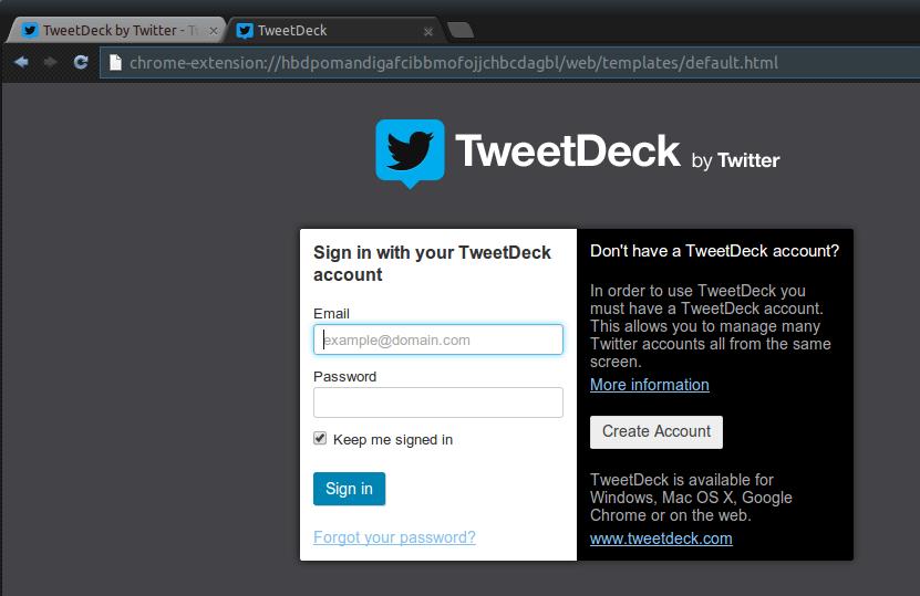 tweetdeck login Ubuntu