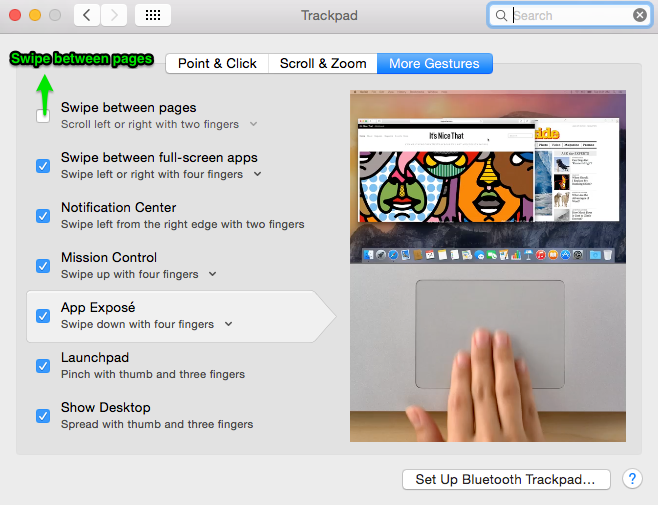 MAC trackpad setting