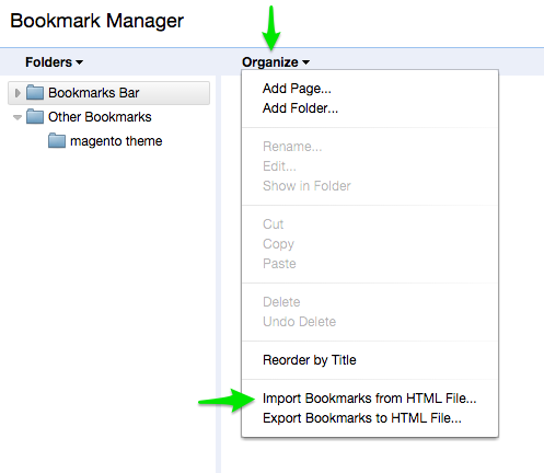 Bookmark manager import  bookmark