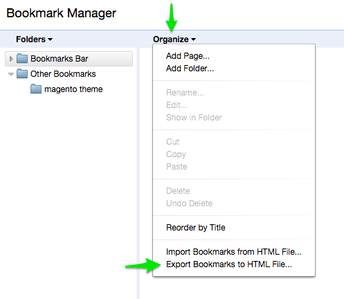 google chrome Bookmark manager export bookmark