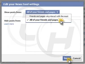 Facebook News feed Settings Popup