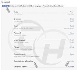 Facebook Accounts setting tab