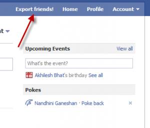 Export Facebook Friends Step 1