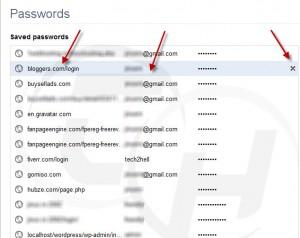 Delete chrome password