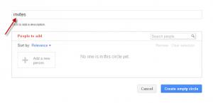 Creating Circle in Google plus