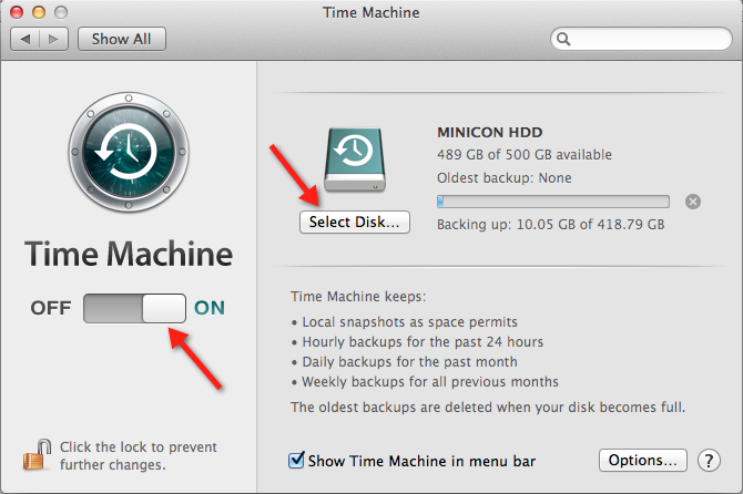 Time Machine Interface