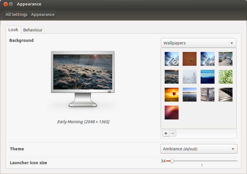 Appearance Settings for Ubuntu