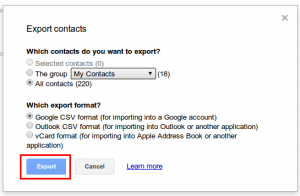 google contacts save option