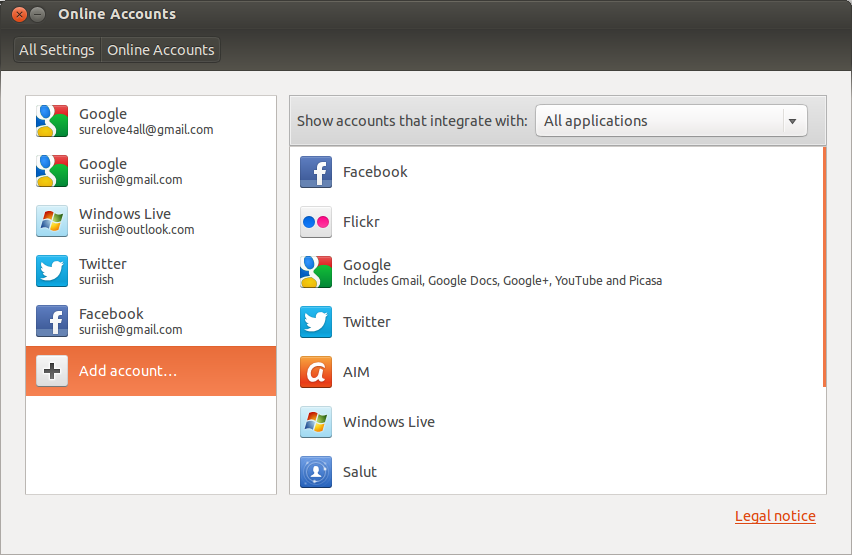 Add Online Accounts to the Ubuntu