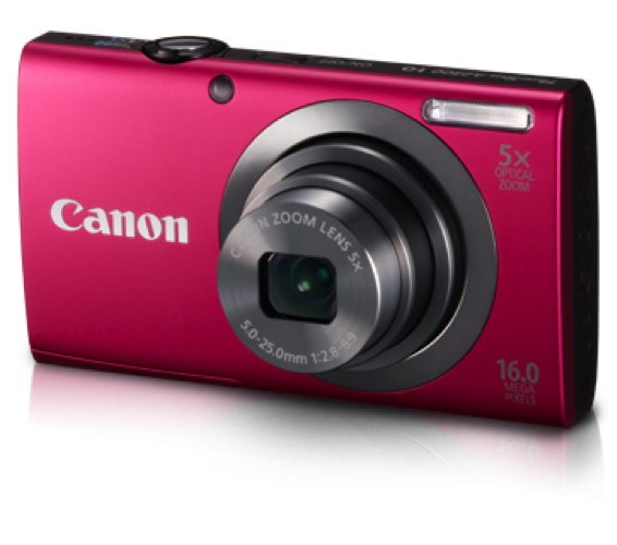 Canon powershot A2300 is an affordable Point & Shoot Camera with some great specifications, which makes it a great option to buy. It comes in 4 Attractive Colours and supports HD video recording. Its features will make your click a great moment.  It Specs are: •	16.0 Mega pixels •	5x optical zoom •	20x Digital zoom •	2.7 inch LCD Monitor •	5 level Brightness adjustment  •	White Balance: Auto, Day Light, Cloudy, Tungsten, Fluorescent, Fluorescent H, Custom •	Shutter Speed    1 - 1/2000sec. •	Shooting Modes: Auto, P, Live View Control, Digital IS, Portrait, Face Self-timer. Low Light, Fish-eye Effect, Miniature Effect, Toy Camera Effect, Monochrome, Super Vivid, Poster Effect, Snow, Fireworks, Long Shutter, Discreet, iFrame movie  •	Recording Media: SD memory card, SDHC memory card, SDXC memory card •	Power Source: Battery Pack NB-11L  •	Dimensions: 94.4 x 54.2 x 20.1mm (3.72 x 2.13 x 0.79in.) •	Weight: Approx. 125g Including the battery and memory card    No.3 Canon PowerShot SX240 HS