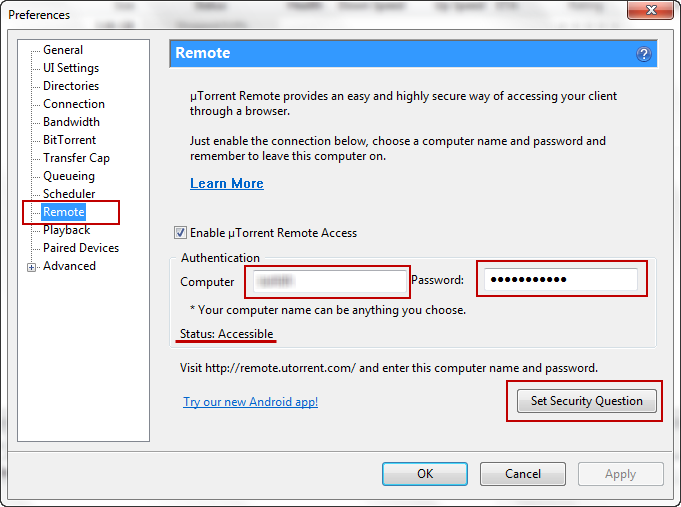 bittorrent remote not accessible