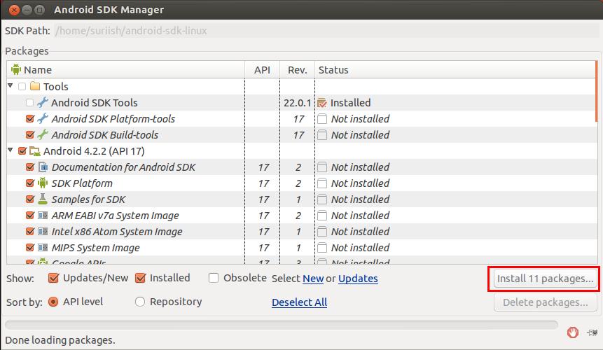Android SDK Manager ubuntu