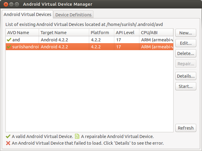 Android Virtual Device Manager 1