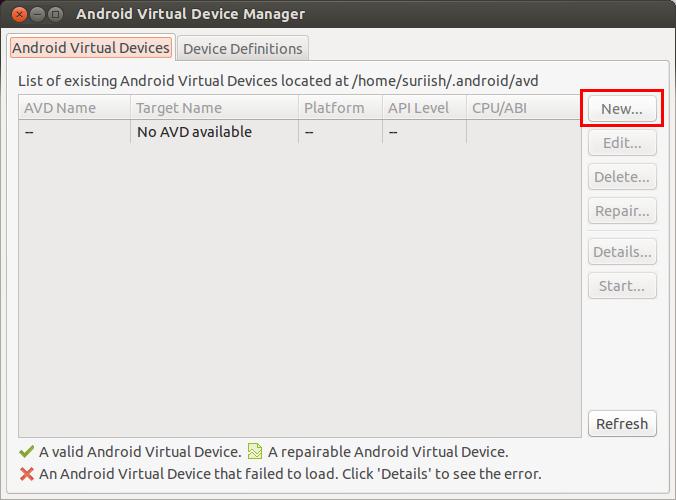 android Emulator ubuntu
