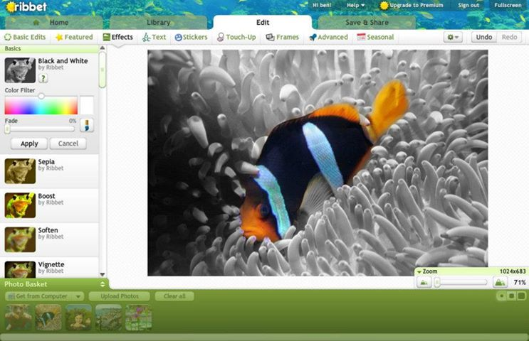 Ribbet online photo editor