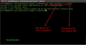 Compiling C with warning ubuntu