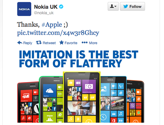 Nokia Tweet about Apple iPhone5C