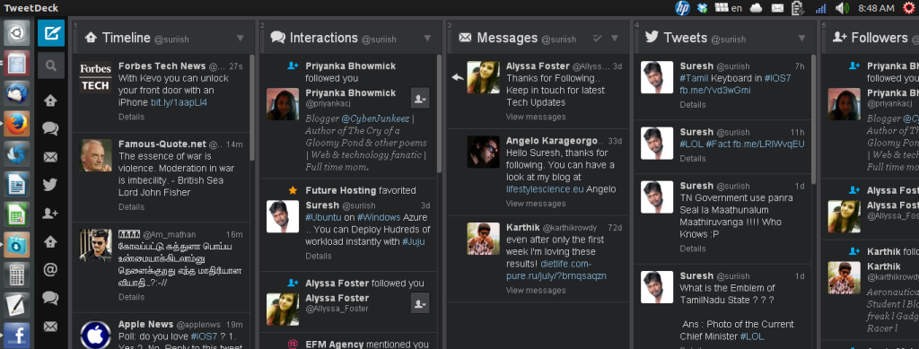 TweetDeck running  in Ubuntu