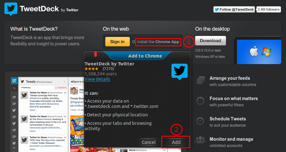Tweetdeck using chrome Ubuntu
