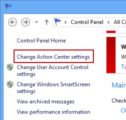 change action center settings
