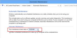 chane shedule time of automatic maintenance