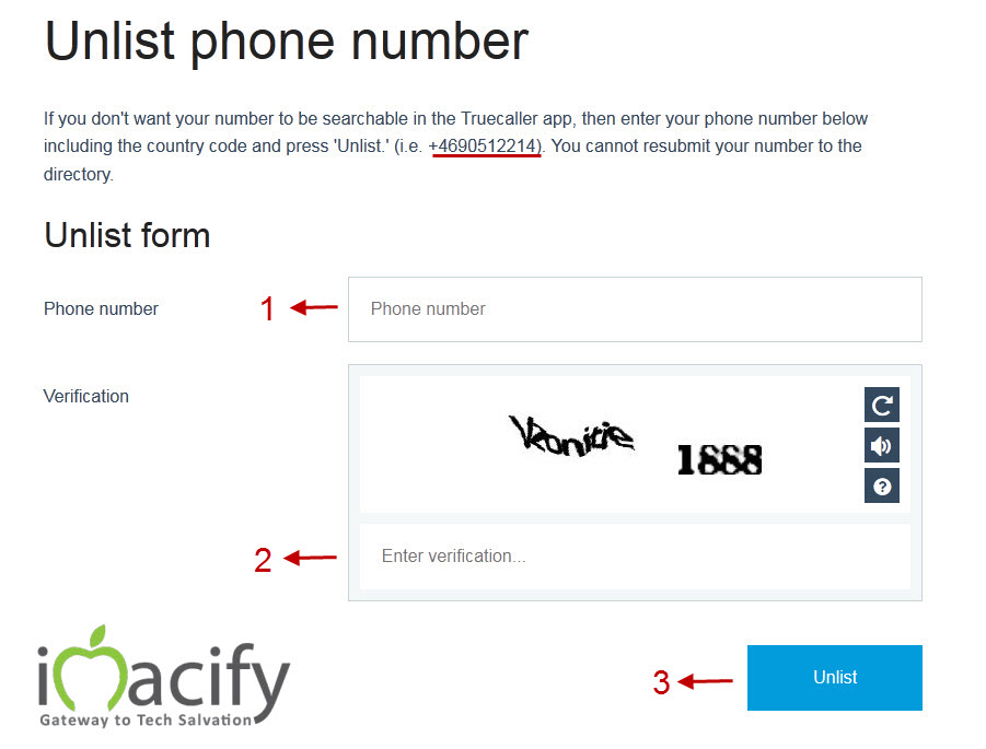 Unlist number from truecaller