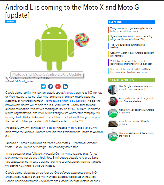 Android L update for mot G & Moto X